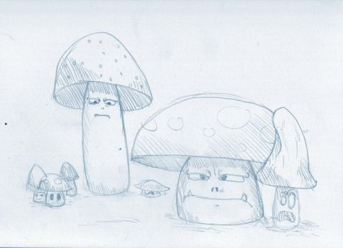 Evil Mushrooms Sketch by lendrick