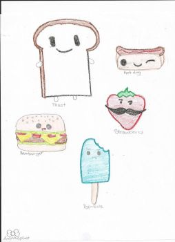 Food with cute faces by hotpinkghost