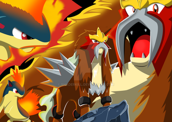 Entei and Quilava (Not my creation) by Shaderkill