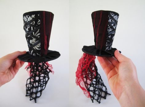 Black and Red Corset Mini Top Hat by MelissaRTurner