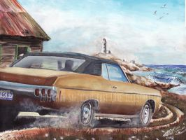 1970 Chevy Impala In Nova Scotia (Painting) by FastLaneIllustration