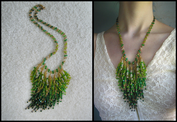 Green Dangles necklace by HeddaLee