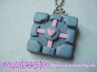 Polymer Clay Companion Cube Necklace by bhayolet