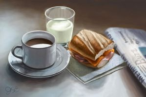 Still Life Breakfast digital sketch by TheMaddhattR