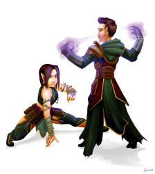 Rix'arel and her half-brother Fernal by femjesse