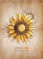 Retro-Sunflower-vector-background by vectorbackgrounds