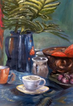 Still Life with Blue Pitcher by lifanonline