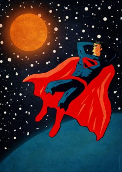 Superman recharging the batteries by William-Oliveira