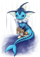 Vaporeon and Eevee by Nekodox