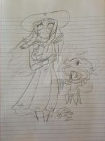 Zomcorn as Lillie and GloomPea as Cosmog by OmegaKaijuScorpioBat