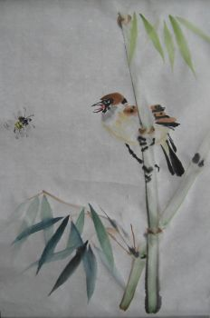 Sparrow and Bee by liralenli