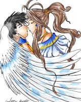 Belldandy and Keiichi colored by dragonrage-