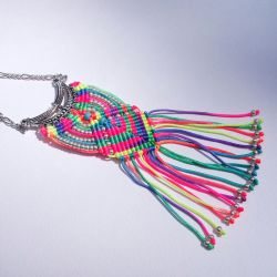 Neon Micro Macrame Necklace by borysbrytva