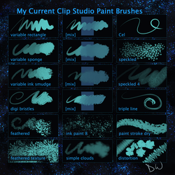 My Current Clip Studio Paint Brushes by iridescentdelirium