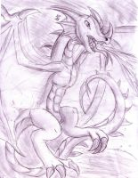 Sketched/Shaded Wyvern by MistrissTheHedgehog