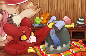 Bows and eggs by Blusagi