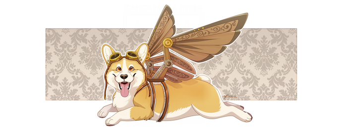 Winged Corgi by Minerea