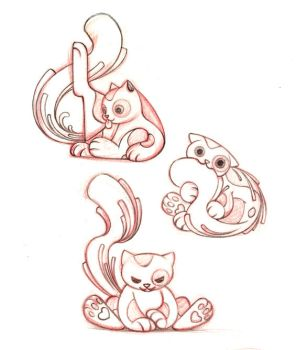 Cat character design sketches by snuapril01