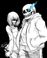 Sans and Chara by tryvor