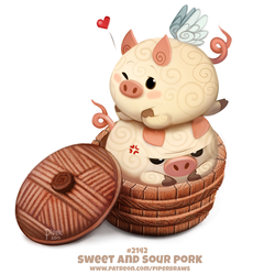 Daily Paint 2142. Sweet and Sour Pork by Cryptid-Creations