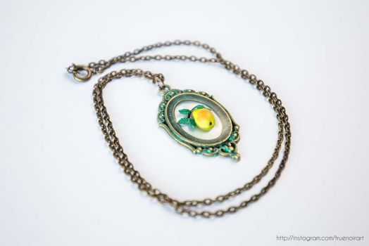 Pear branch necklace, polymer clay and resin 02 by NoirArt