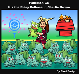 PokemonGo: It's the Shiny Bulbasaur, Charlie Brown by fiori-party