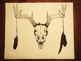 Deer Skull, adorned by MeliaMonster