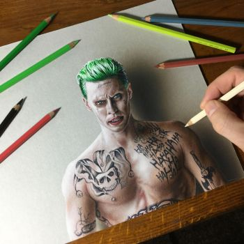 Drawing Joker Suicide Squad by marcellobarenghi