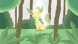 Leafeon in the forest(Gif) by HelloimKiki