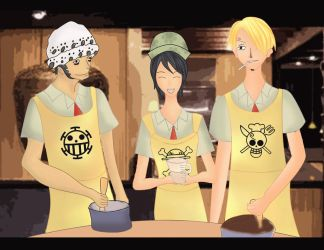 Law and sanji baking with arciel by urumi13