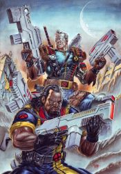 Cable and Bishop Gouache Commission by edtadeo