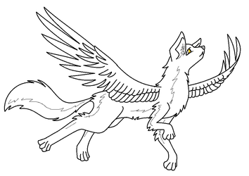 Winged wolf base by ComputerDragon