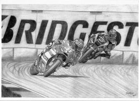 Valentino Rossi and Colin Edwards by LandinDesign