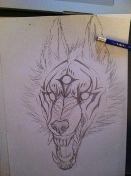 wolf sketch by isawic
