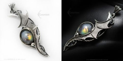 LEERAHT DRACO Silver and Rainbow Moonstone by LUNARIEEN