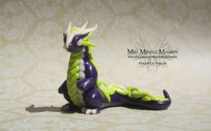 Purple, Green and Glow-in-the-Dark Earth Dragon by MiniMythicalMonsters