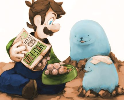 Luigi feeding Whackas. by Uroad7 by Uroad7