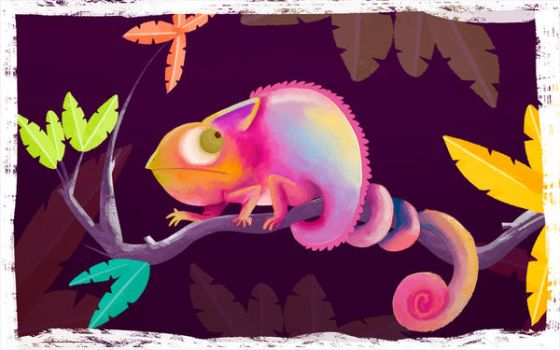 Chameleon on a branch by MariChan27