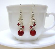 Red and silver bunch earrings by Koreena