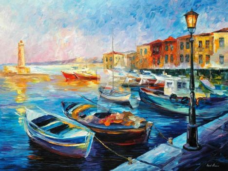 Fishing Boats by Leonid Afremov by Leonidafremov