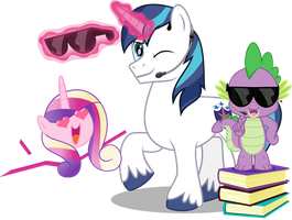 MLP Vector - Cadance, Shining Armor and Spike by jhayarr23