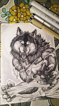 Snarly Werewolf - Copic Markers by sugarpoultry
