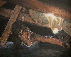 Acrylic Painting - Lara Croft by CurlyWurly808