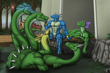 Commission: Relaxation at the Swamp by TargonRedDragon