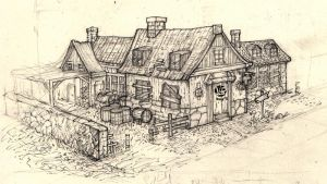 Tavern concept sketch by Nimphradora
