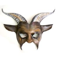 Leather Goat Mask in Brown with Black and Offwhite by teonova