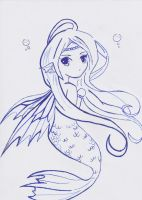 Blue Mermaid Lineart by animequeenfreak