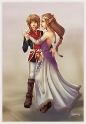Art trade: Link and Zelda by Chosen-of-Xenodrupe