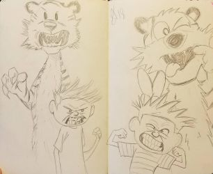 pair of Calvin and Hobbes by andyosu20