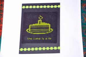 The Cake Is A Lie by VickitoriaEmbroidery